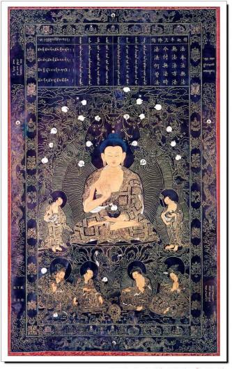 """Phật Thích Ca Mâu Ni, vị Thế Tôn thứ 4 trong hiền kiếp, giáng sinh trong hoàng tộc Sát Lợi, phóng ra ánh sáng lớn, mặt đất vọt lên đóa sen vàng, bước đi bảy bước, tay chỉ trên trời, tay chỉ dưới đất, Ngài nói bằng giọng sư tử hống, rằng: """"Trên trời dưới đất chỉ một mình ta là tôn quí"""". Lúc ấy nhằm ngày mùng 8 tháng 4 năm Giáp Dần, thời vua Chu Chiêu Vương. Năm 19 tuổi xuất gia, 30 tuổi thành đạo, chuyển pháp luân bốn đế, suốt 49 năm nói ra ba tạng pháp mầu. Sau bảo đệ tử Ca Diếp: """"Ta có chánh Pháp Nhãn Tạng, Niết Bàn diệu tâm trao cho ngươi"""".  Ngài nói kệ rằng: Pháp vốn là pháp cũng không là pháp Không phải pháp, pháp cũng chính là pháp Nay đang lúc ta trao cho pháp không Các pháp đó nào từng phải là pháp? Nói kệ xong, Ngài ngồi dưới cây Ta La, an nhàn tịch diệt. Bấy giờ các đệ tử liền đem củi thơm trà tỳ. Khi ấy kim quang từ tòa tự nhấc lên cao bảy cây Đa La, qua lại ở không trung, hóa thành lửa tam muội, trong phút chốc thu được xá lợi, phân thành 8 hộc 4 đấu. Bấy giờ, nhằm năm Nhâm Thân, thời vua Mục Vương, năm thứ 53. Theo """"Thiền Uyển Kế Đăng Lục"""" Thích Thiện Phước dịch"""